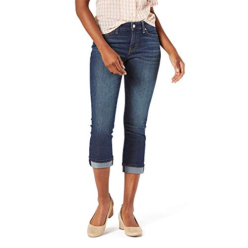 Signature by Levi Strauss & Co. Gold Label Women's Plus Size Mid-Rise Slim Fit Capris, Blue Laguna-Waterless, 16