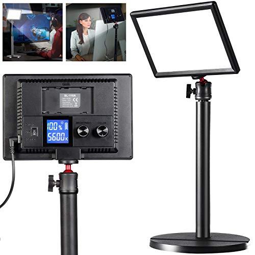 VIJIM Schreibtisch Videolampe mit Handy Basis, LED Studio-Fotolampe, CRI 95+ 3200K-5600K Dimmbar 0-100% für Videokonferenzen Tiktok Live/Game Streaming