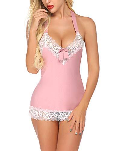ADOME Damen sexy kurz Nachthemd Negligees mit G String und Spitze Dekoration für Damen,C Rosa,S