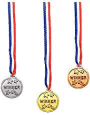 Award Medals with Patriotic Ribbons - Plastic Gold Silver and Bronze Competition Prize Necklace - 3 Piece Set