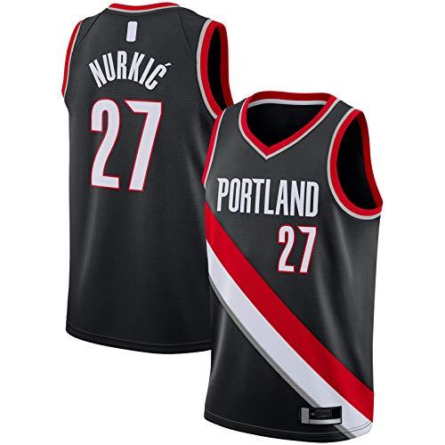 QSWW Jusuf Camiseta de manga corta Nurkic Bordado Portland Basketball Jersey Trail Sportswear Blazers #27 Replica Swingman Jersey Negro - Icono Edition-XXL