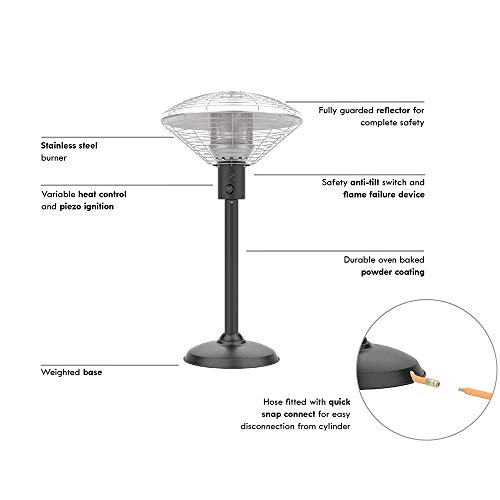 Sahara 4kw Table Top Outdoor Heater, Made from Stainless Steel, with Weight Mounted Base. Supplied with Regulator Compatible with Patio Gas and Hose. 52 x 52 x 96 cm