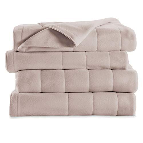 Sunbeam Fleece Electric Heated Warming Blanket Twin Seashell Washable 10 Heat Settings