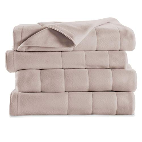 Sunbeam Soft Quilted Fleece Electric Heated Warming Blanket Full Seashell Washable Auto Shut Off 10 Heat Settings