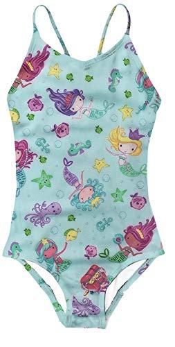 Funnycokid Girl Mermaid Swimsuit Printing Novelty Swimwear UPF 50+ Sun Protection Bathing Suit 9-10(9-10Years,Mermaid#1)