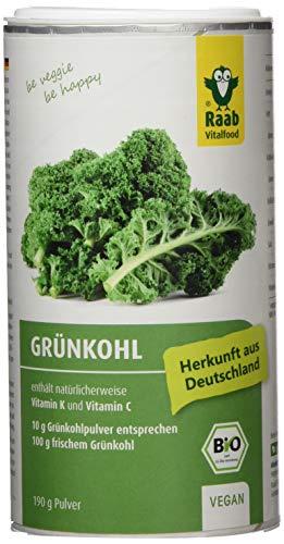 Raab Vitalfood Bio Grünkohl-Pulver aus biologischem, vegan, glutenfrei mit natürlichem Vitamin C und Vitamin K, Kale, 190 g