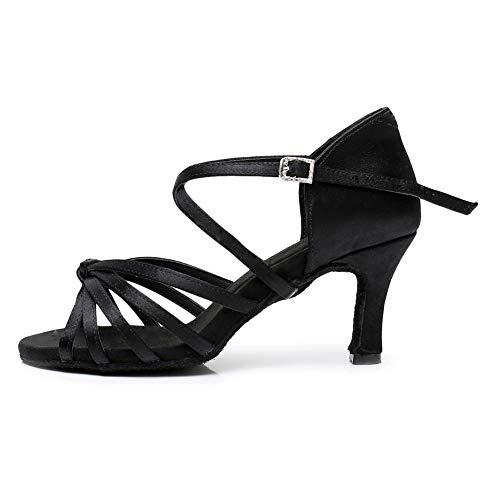 SWDZM Zapatos para Baile Latino Mujer,Salsa Tango Samba Bachata estándar de Zapatos,Seda,Tacón-2.76'',Negro,39EU/25.3CM