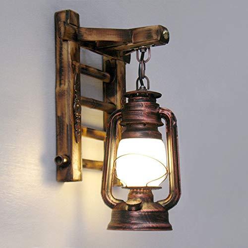 WarmHome Nostalgia Retro Iluminación Inn Bar Restaurante Informal Creativa Iluminación Lámpara De Pared del Pasillo De Queroseno Linterna Escalera De Bambú 24cm * Los 37CM