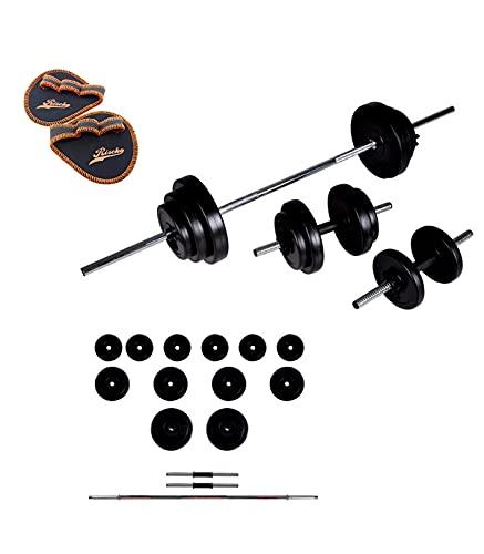Grupo K-2 Juego de Pesas 35 Kg con Barra Recta y Mancuernas | Musculación Fitness.