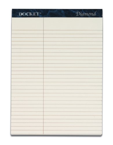 TOPS Docket Diamond 100% Recycled Premium Stationery Tablet, 8-1/2 x 11-3/4 Inches, Perforated, Ivory, Law Rule, 50 Sheets per Pad, 2 Pads per Pack (63983)