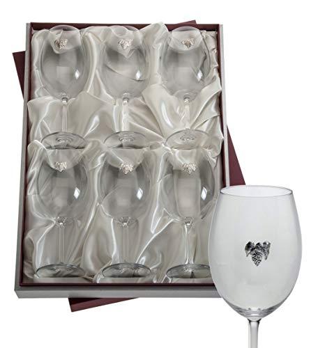 El Faro Juego 6 Copas Vino Personalizadas Cristal Bohemia en Estuche 590 ml