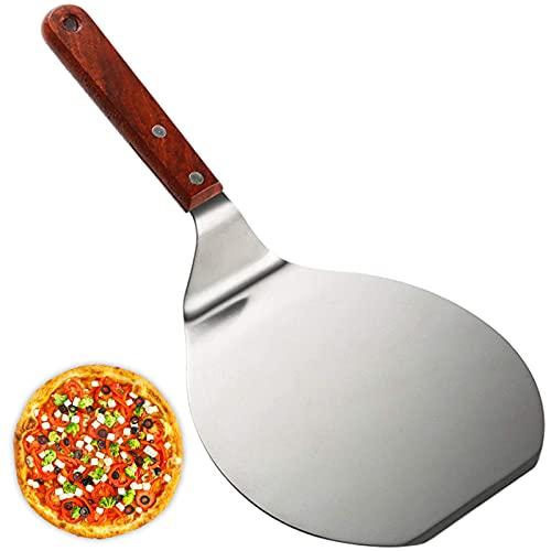 Pala para Pizza Juego de Cortadores de Pizza Palas para Pizzas Profesional Pala para Pizza con Mango de Madera Pala de Acero Inoxidable para Hornear para Horno Paleta para Pizza (1 pieza)