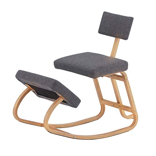 ESGT Ergonomic Kneeling Chair with Back Support, Posture Correction Kneel Stool for Home Office with Angled Seat for Better Posture - Thick Comfortable Cushions