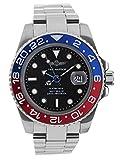 GMT Navy Seal Swiss Men's GMT Watch Black Dial, 316L CASE - RED and Blue Ceramic Bezel, Swiss Quartz Movement, Men's Watch Pro Master Diver Watch, Sapphire Glass
