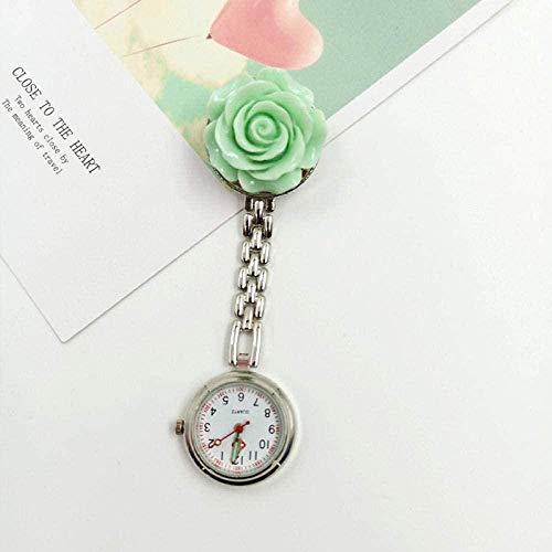 B/H Damen Krankenschwester FOB Uhr,Flower Creative Nurse Watch, Quarz Digital Taschenuhr Geschenkbox-Grün,Pulsuhr Krankenschwester