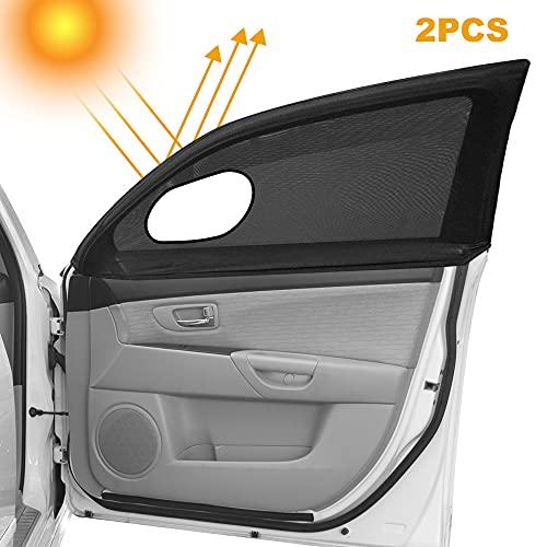 Gohytal Auto Seitenfenster Sonnenschirm, Auto Moskitonetze Autofenster Sonnenschutz Atmungsaktives Universal Sonnenblende für Seitenfenster Meshmaterial Schützt Mitfahrer/Baby/Kinder&Haustiere 2 Stück