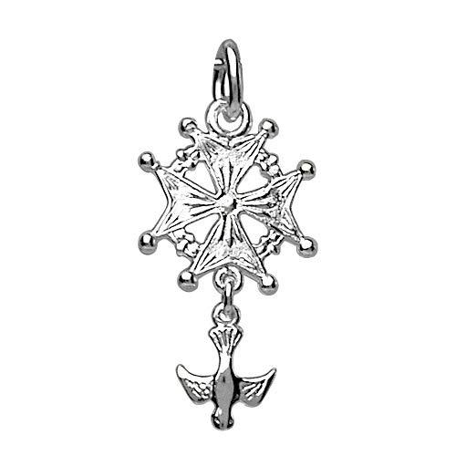 Thabora Pendentif Croix huguenote Argent 925‰ rhodié + écrin (Offert) + Certificat d'Authenticité Argent 925‰