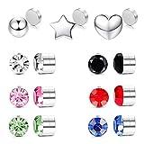 TEN MIRO 15PCS Magnetic Stud Earrings for Women Men Stainless Steel Non Piercing Clip on CZ Earrings Fake Nose Stud Earrings Set
