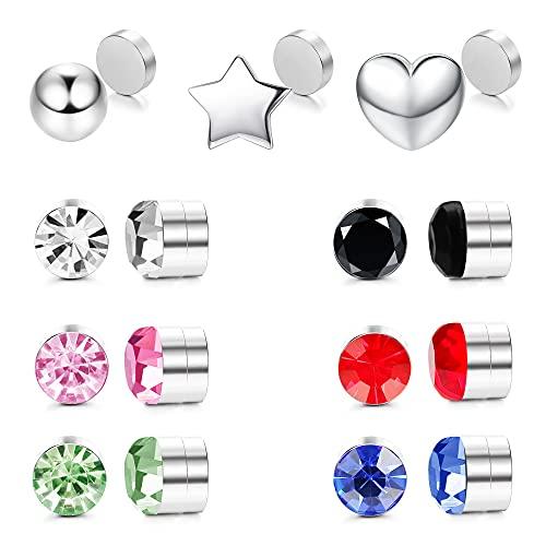 TEN MIRO 15PCS Magnetic Stud Earrings for Women Men Stainless Steel Non Piercing Clip on CZ Earrings Colorful Fake Nose Ring Studs