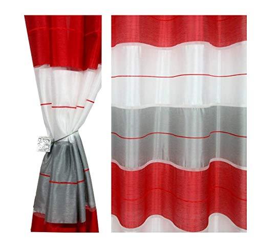 Halbtransparent Ösenvorhang Ösenschal Schal Dekoschal für Fenster Dekorative Gardine Farben Streifen 2er Set Vorhänge mit Ösen 145x245 cm AGV (V22)