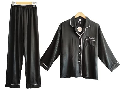 Laura Lily - Pijamas Mujer de 2 Piezas Camisa con Botones y Pantalones Largos de Seda Satén, Suave, Cómodo, Sedoso y Casual. (Negro, L-XL)