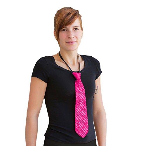 Oblique-Unique® Pailletten Glitzer Krawatte Schlips - Party Fasching Karneval (Pink)