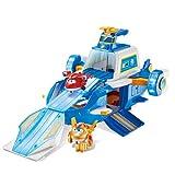 Super Wings PLAYSET Aircraft World Aircraft + 2 Aviones Figuras Transform-a-Bots del Dibujo Animado Temporada 5 – Juguete Infantil 3 años y +, FR740831A, Azul