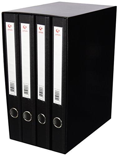 Grafoplás 7282410-Módulo de 4 archivadores con palanca de 65mm color negro. Grafcolor