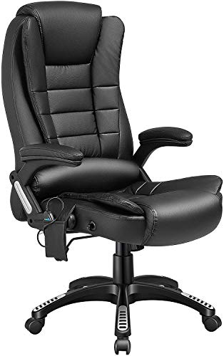 Kealive Ergonomic Massage Office Chair with Heat, Faux Leather High Back Executive Vibrating Chair with Comfort Lumbar Support Padded Armrest, Adjustable Tile Angle Reclining Swivel Desk Chair, Black
