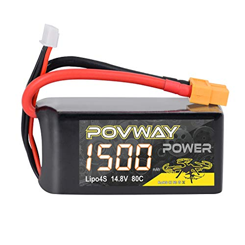 4S 14.8V 1500mAh LiPo Battery POVWAY 80C with XT60 Plug Compatible RC Airplane, Helicopter,FPV Drone
