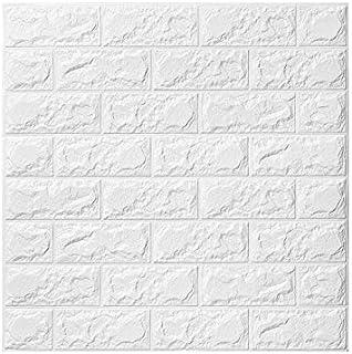 3D Papel tapiz de ladrillo, repique extraíble y pegatina de pared de espuma PE para sala de estar (5 piezas Ladrillo Blanco)