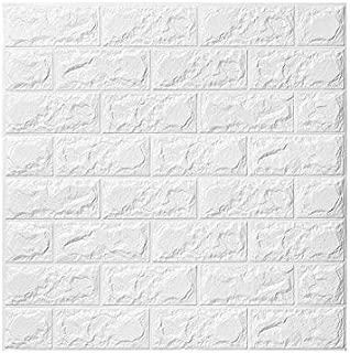 3D Papel tapiz de ladrillo, repique extraíble y pegatina de pared de espuma PE para sala de estar (10 piezas Ladrillo Blanco)