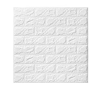Papel tapiz de ladrillo 3D, repique extraíble y pegatina de pared de espuma PE para sala de estar sq ft 3.875/pcs (Blancas ladrillo 5 Piezas)