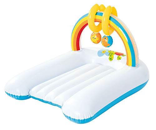 Bieco 22052241 Aufblasbare Wickelunterlage mit Regenbogen als Spielbogen, Unterlage zum Wickeln von Babys, weiß