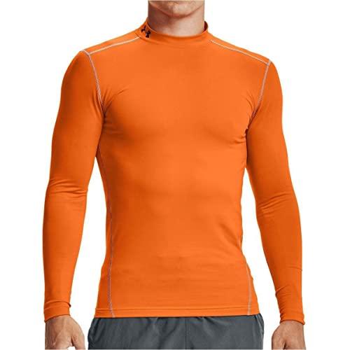 Under Armour Coldgear Armour Mock, Camiseta de Manga Larga Hombre, Naranja (Vibe Orange/Black(850)), XS