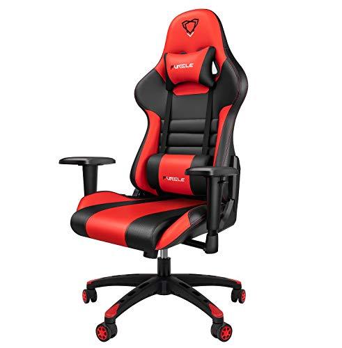 Furgle Office Gaming Chair Silla de Carreras con Respaldo Alto y reposabrazos Ajustables Piel sintetica Silla de Videojuegos giratoria con Modo balancin (Negro & Rojo)