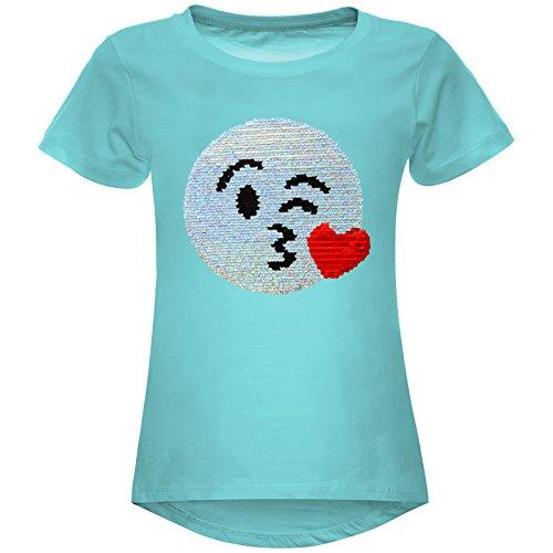 BEZLIT Mädchen Wende-Pailletten Stretch T-Shirt Smile-Motiv 22606 Grün Größe 116