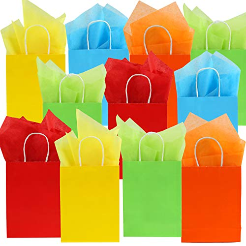 Cooraby 20 Pieces Kraft Paper Bags Party with 25 Sheets Tissue Paper for Birthday, Wedding, Tea Partyand Party Celebrations (Pure-Yellow, Light Blue, Light Green, Orange, Red, 16 x 8 x 22)