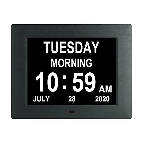 TMC Dementia-Uhr mit digitaler Kalenderuhr – 8 Weckoptionen, extra groß, nicht abgekürzt Tag und Monat für Sehbehinderte, ältere Menschen, Speicherverluste Schwarz