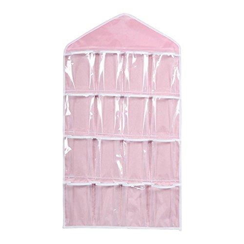 Leorx 16 bolsillos puerta colgar ropa interior medias sujetador armario ordenado organizador del almacenaje (rosa)
