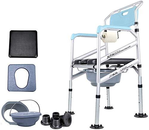 FREIHE Toiletstoel 3-in-1 nachtkastje commode stoel, in hoogte verstelbaar, gemakkelijk over te brengen drop-arm toilet, aluminium nachtkastje douchestoel, gereedschaploze montage
