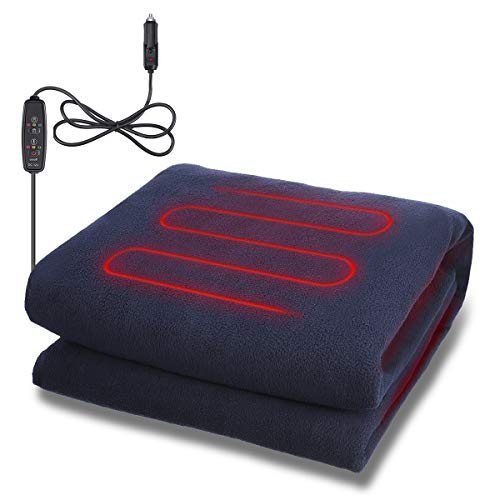 AMBOTHER Car Heated Blanket 12 Volt Electric Travel Throw for Trucks, Winter Cold Weather, Traveling, Camping, Emergency Kits