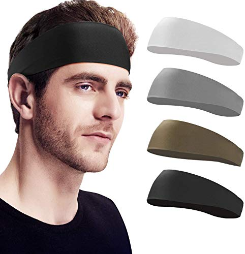 Waczecr Headbands for Men, Sweat Band & Mens Headbands Sport for Running, Cycling, Yoga, Basketball and Workout Lightweight Breathable Sweatbands