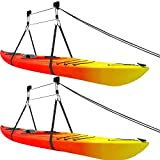 2 Pack Kit - Kayak Ceiling Hoist Lift for Garage Storage, Straps with Locks and Rubber Hooks, Holds 125 lbs - Hanging Pulley System - 2 Kits