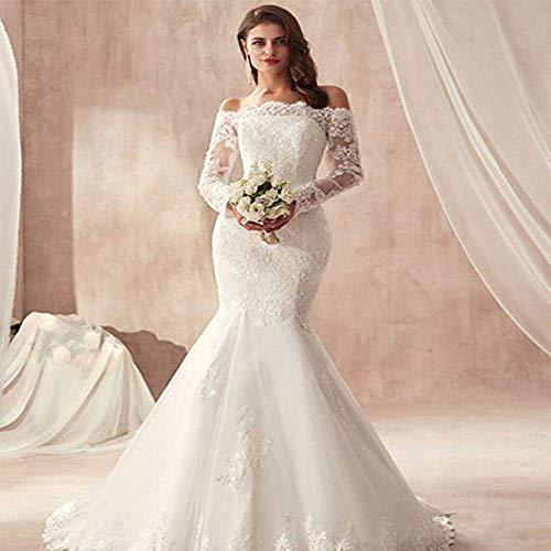 Kleid Brautkleid 1 Brautkleid Trailing Big Yards Retro Lace Ärmellose Fishtail Brautkleid 2 Brautkleid Braut Hochzeit/Pure White/Xxxl, L-F