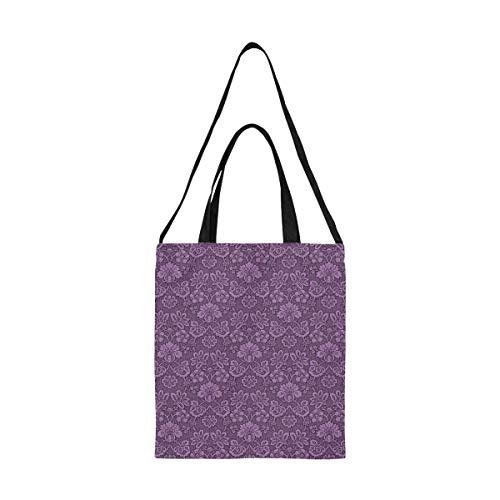 Herren Leinwand Taschen Damast Tapete Papier Lila Einkaufstüten Für Kinder Tasche Kleidung Drucken Große Größe Einfache Schulter Umhängeband Arbeit Schule Shopper