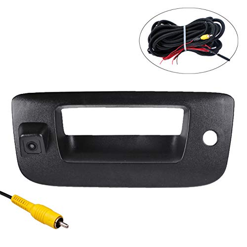 OMOTOR Tailgate Backup Reverse Handle with Camera Fit for Chevrolet Silverado/GMC Sierra 2007 2008 2009 2010 2011 2012 2013 Black
