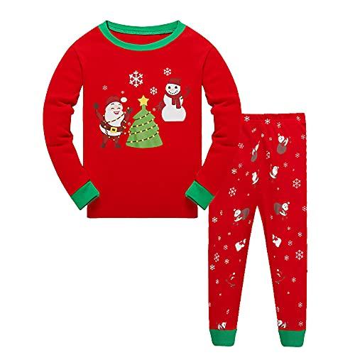 Toluckidz Pijama largo de Navidad para niños y niñas, de algodón, para...