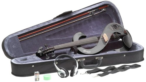 Stagg EVN 4/4-Size Silent Violin Set with Case - Metallic Black