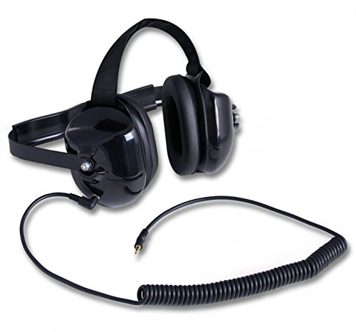 Rugged Radios H40-BLK Behind The Head Listen Only Headset with 3.5mm MP3 / Scanner Input Jack